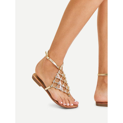 Rhinestone Detail Toe Post Sandals,  Footwear - Found Lost Outdoors