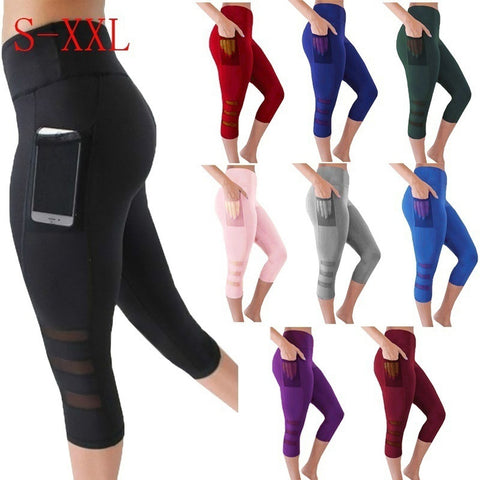 High Waist Cropped  Capri Running Yoga with Side Phone Pocket Pants,  Women - Apparel - Activewear - Leggings - Found Lost Outdoors