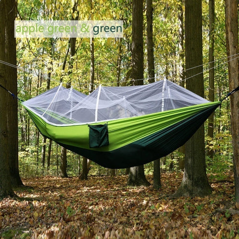 Portable Tactical Outdoor Waterproof Parachute Fabric Hammock with Mosquito Net