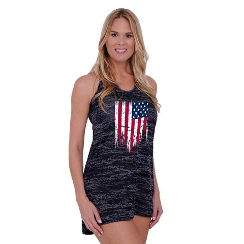 Women's USA Flag Distressed Burnout Tank Dress Swimwear Cover-up,  Women - Apparel - Swimwear - Cover Ups - Found Lost Outdoors