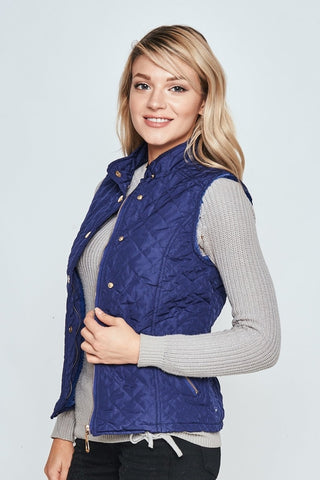 Royal Blue Sleeveless Lightweight Winter Vest,  Women's Clothing - Found Lost Outdoors