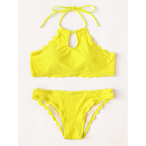 Solid Scalloped Trim Halter Bikini Set,  Women - Apparel - Swimwear - Bikinis Separates - Found Lost Outdoors