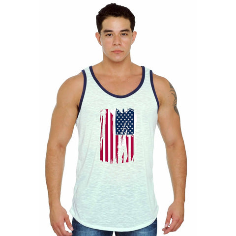 USA Flag Distressed Tank Top White,  Men - Apparel - Activewear - Tops - Found Lost Outdoors