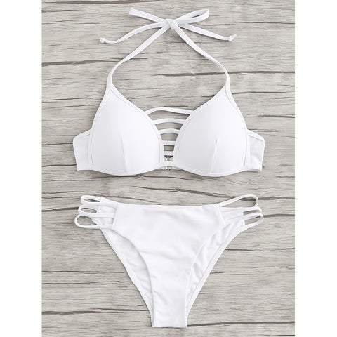 Laddering Cut Solid Bikini Set,  Women - Apparel - Swimwear - Bikinis Separates - Found Lost Outdoors