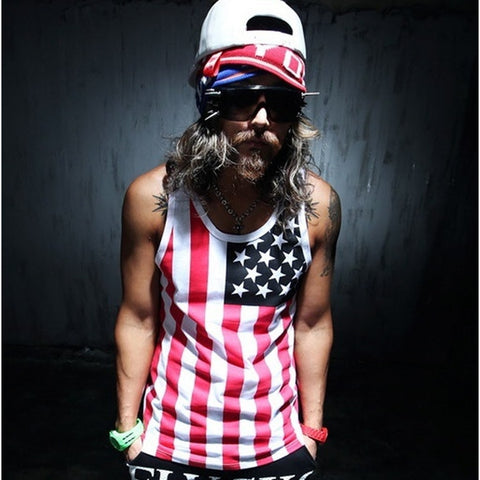 Men's USA National Flag Printed Tank,  Men - Apparel - Activewear - Tops - Found Lost Outdoors