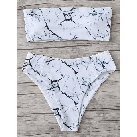 Marble Pattern Bandeau Bikini Set,  Women - Apparel - Swimwear - Bikinis Separates - Found Lost Outdoors