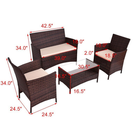4Pcs PE Rattan Wicker Table Shelf Sofa Furniture Set With Cushion,  Furniture - Found Lost Outdoors