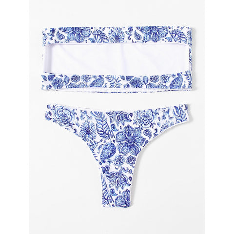Flower Print Bandeau Bikini Set,  Women - Apparel - Swimwear - Bikinis Separates - Found Lost Outdoors