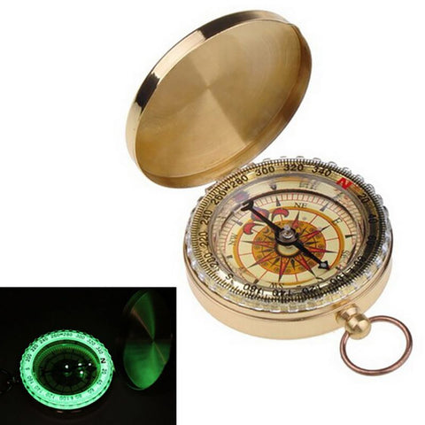 Golden Compass with Glow-in-the-Dark Ring,  Survival - Found Lost Outdoors