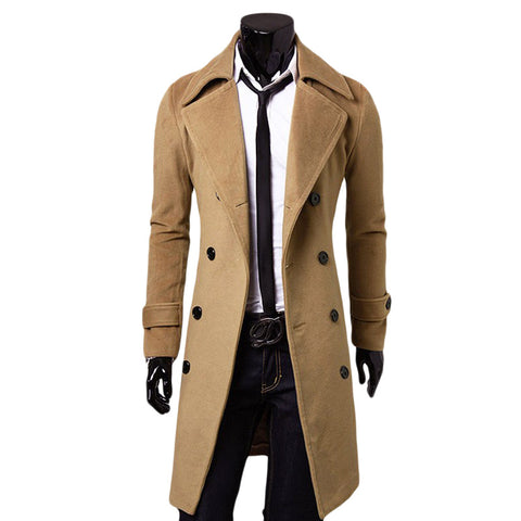 Long Wool Blend Trench Coat,  Winter Men - Found Lost Outdoors