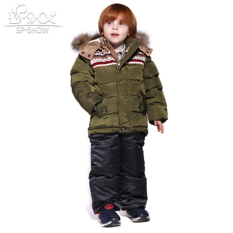 Children's Winter Boys and Girls Ski Suit | Windproof Thick Fleece Down Jacket Coat + Trousers,  Kids - Found Lost Outdoors
