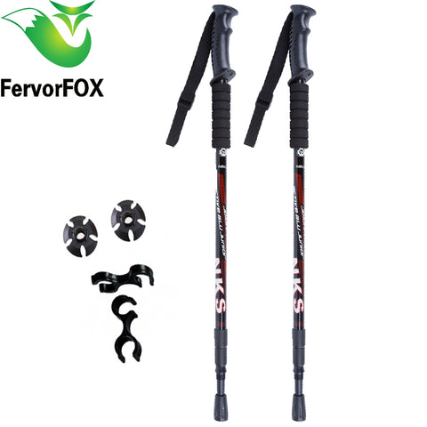 2 Piece Anti Shock Telescopic Nordic Hiking and Trekking Poles,   - Found Lost Outdoors