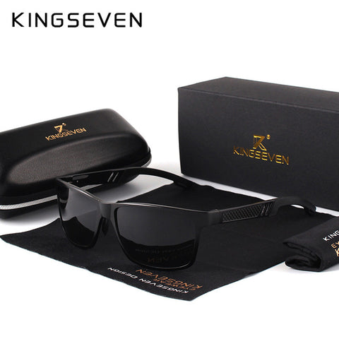 KINGSEVEN Men Polarized Sunglasses Aluminum Magnesium Rectangle SunGlasses,   - Found Lost Outdoors