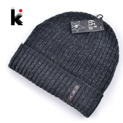 Mens Designer Winter Wool Knitted Beanie,   - Found Lost Outdoors