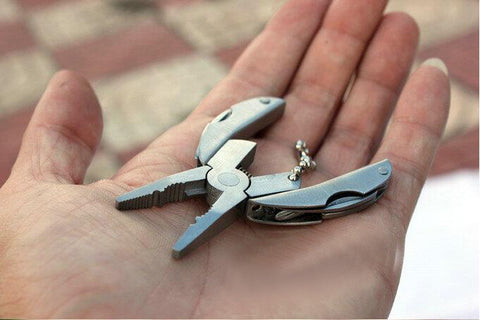 EDC Portable Multifunctional Survival Tool |  Folding Plier, Stainless Steel Foldaway Knife, Keychain, Screwdriver,   - Found Lost Outdoors