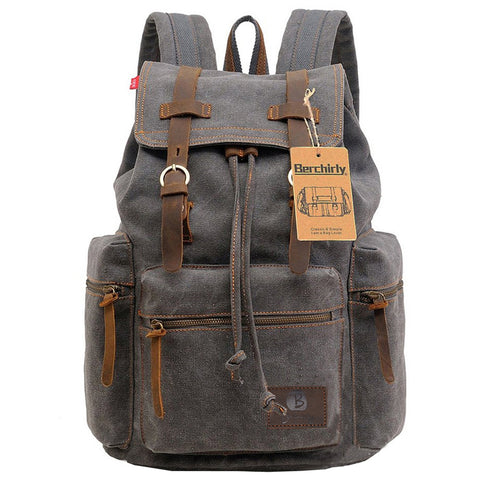 Vintage Leather Military Travel Backpack