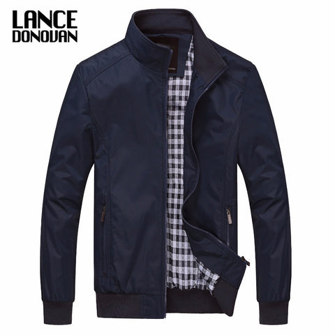 Men's Spring Autumn Outerwear Mandarin Collar Solid Color Jacket,   - Found Lost Outdoors