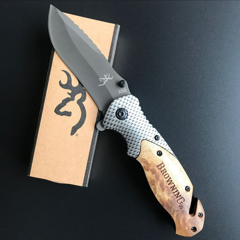 Carbon Fiber Folding Knife with Rosewood Handle,  Survival - Found Lost Outdoors
