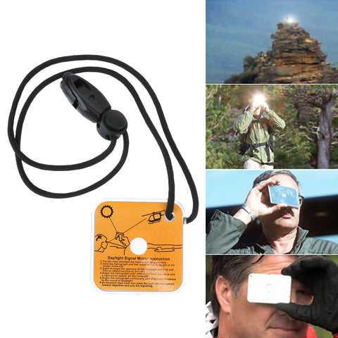 Reflective Survival Signal Mirror with Whistle,   - Found Lost Outdoors