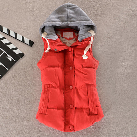 Women Hooded Down Vest | Removable Hood | Cotton Wool Collar,  winter lady - Found Lost Outdoors