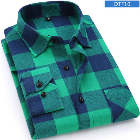Men's Plaid Cotton Long Sleeve Shirt,   - Found Lost Outdoors