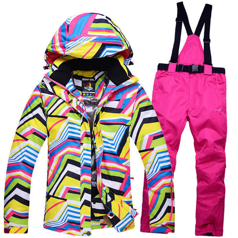 Women's Rainbow Zebra Windproof Ski Suit,   - Found Lost Outdoors