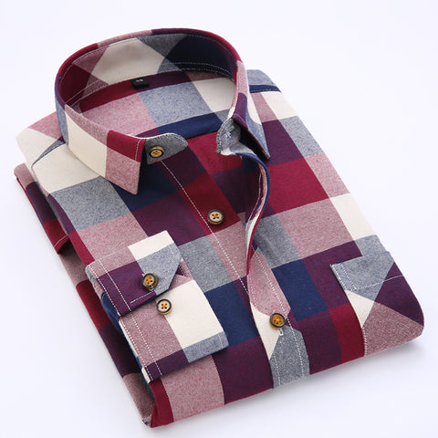 Men's Plaid Slim-fit Long Sleeve Shirt,   - Found Lost Outdoors