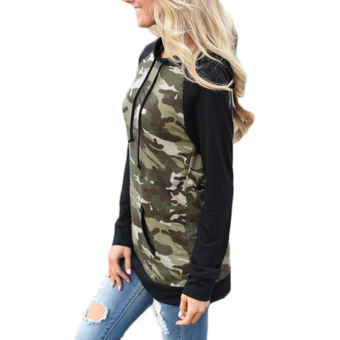 Women's Army Green Pullover Camouflage Hoodie,   - Found Lost Outdoors