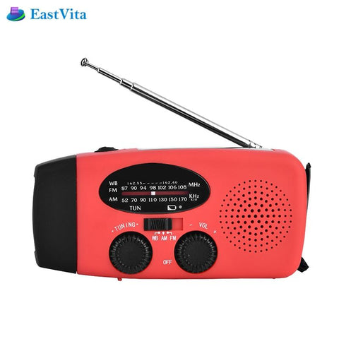 Portable Solar Survival Radio with Hand Crank | LED Flashlight FM/AM/NOAA Weather Receiver,  Survival - Found Lost Outdoors