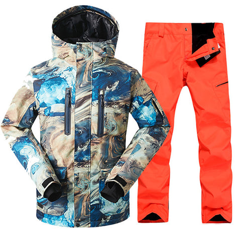 Men's Waterproof Ski Snowboard Suit Set - Jacket + Pants