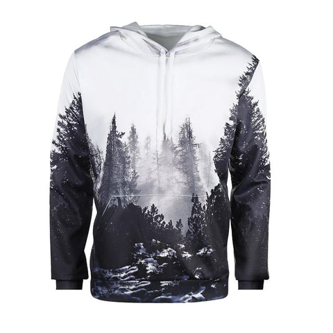 3D Forest Printed Hoodie - Autumn Winter,  sweatshirt - Found Lost Outdoors