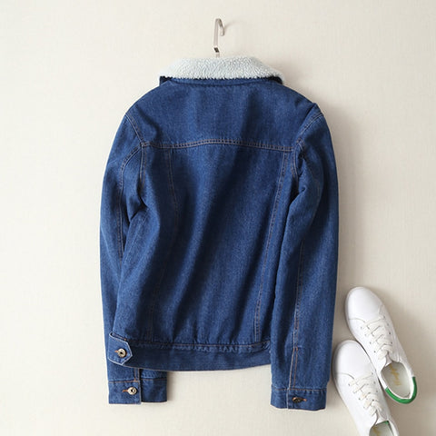 Women's Lamb's Wool Long Sleeves Jeans Wide Casual Denim Jacket