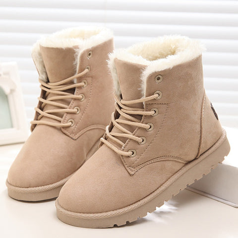 Classic Women Winter Ankle Suede Lace-up Snow Boots with Warm Fur Plush Insole