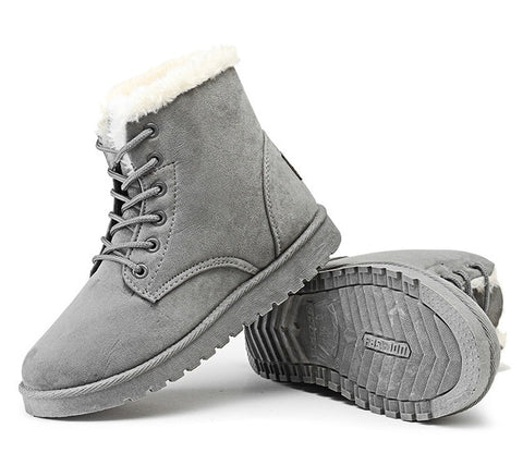 Classic Women Winter Ankle Suede Lace-up Snow Boots with Warm Fur Plush Insole,   - Found Lost Outdoors