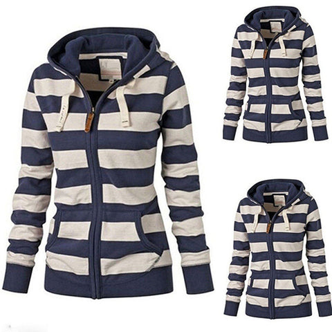 Women's Striped Sleeve Zipper Hoodie,   - Found Lost Outdoors