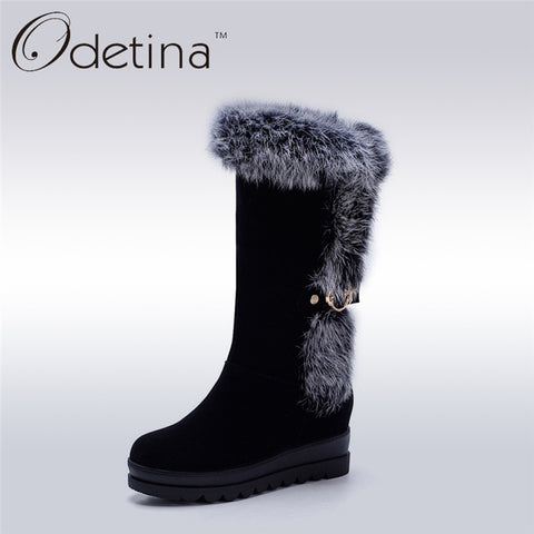 Women's Hand Made Platform Mid Calf Suede Fur Snow Boots