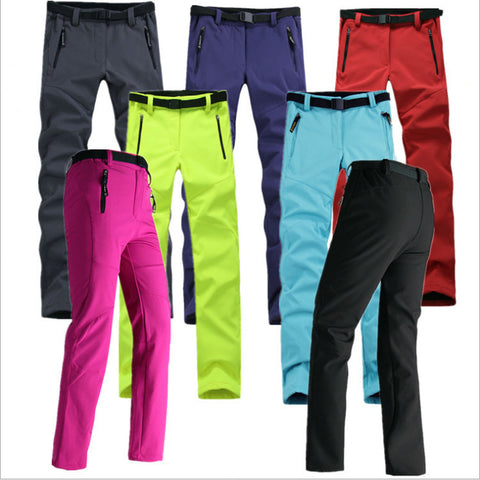 Women's Waterproof Windproof Thick Fleece Softshell Pants Fishing Camping Hiking Skiing Pants