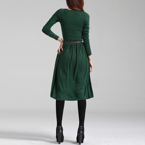 Women's Crew Neck Autumn Winter Belt Knit Long Sleeve Casual Work Party Sweater Slim Dress
