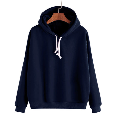 Women's Long Sleeve Basic Hooded Pullovers