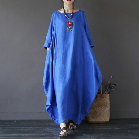 Women's Vintage Boho Autumn Loose Long Maxi Dress