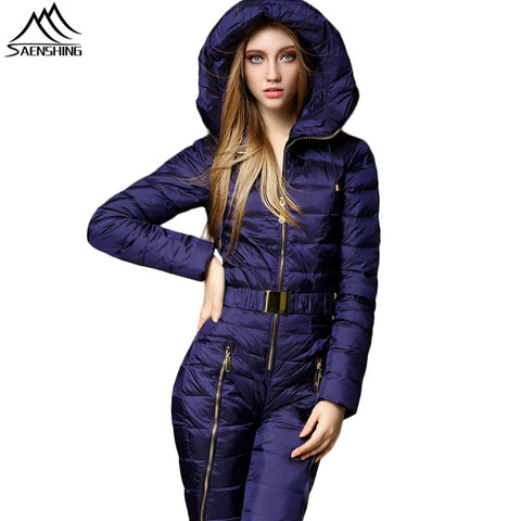Women's One Piece Windproof Hooded Duck Down Jumpsuit