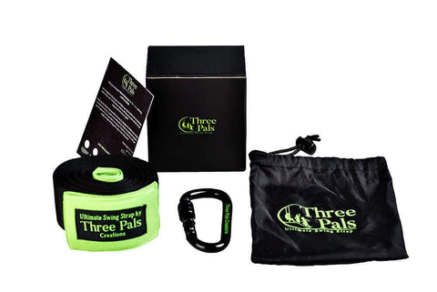 Three Pals Creations Tree Swing Strap 10 Ft Adjustable Hanging Kit with Carabiner, 2 Protective Covers, Pouch and Installation Guide