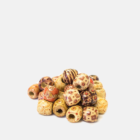 [Hera Beauty] Wooden Beads With Pattern Large - Tools & Accessories