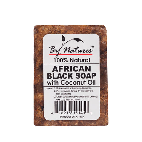 BY NATURES 100% Natural African Black Soap with Coconut Oil 7oz