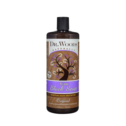 DR. WOODS Naturally Raw Black Soap Original with Fair Trade Shea Butter 32oz