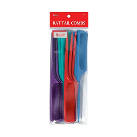 ANNIE 12 Rat Tail Combs SET #17