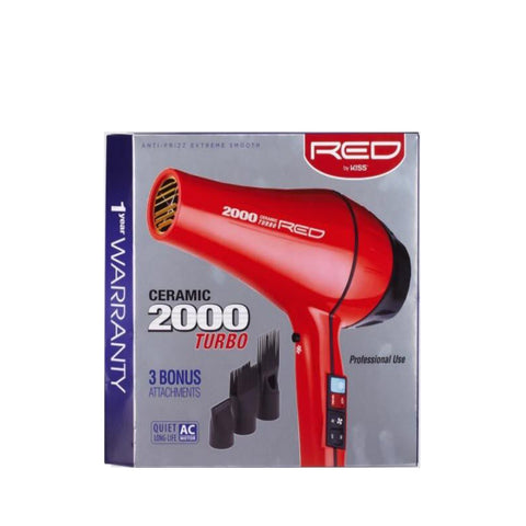 KISS RED CERAMIC 2500 TURBO Hair Dryer #BD03