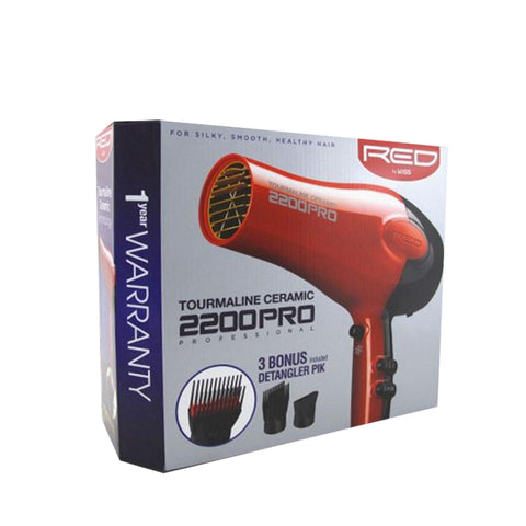 KISS RED TOURMALINE CERAMIC 2200 PRO Hair Dryer #BD07N
