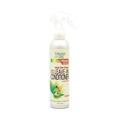 HAWAIIAN SILKY 14 IN 1 MIRACLES NATURAL Apple Cider Vinegar Static Free Leave-In Conditioner with Black Castor Oil 8oz