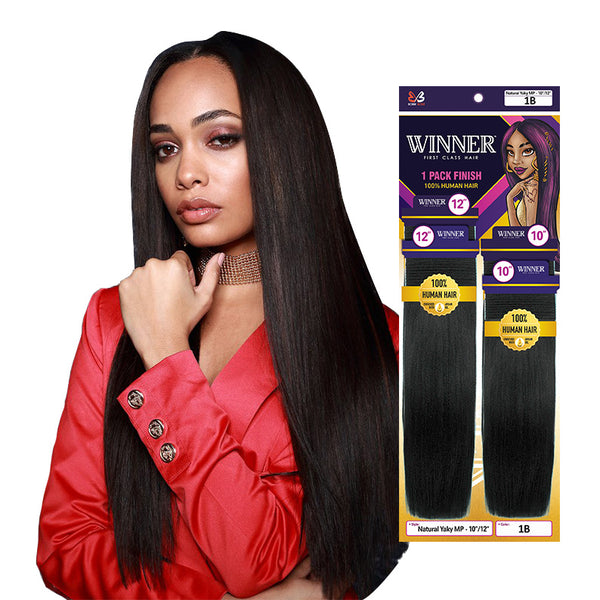BOBBI BOSS WINNER 100% Human Hair Natural Yaky 4pcs